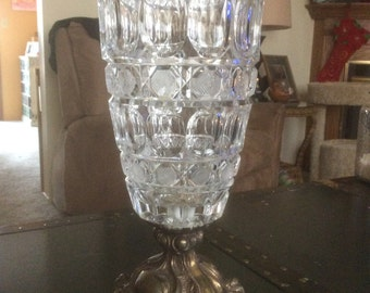 Large Cut Glass Vase with Brass Base
