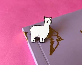 Alma the Alpaca Enamel Lapel Pin | cute llama pin hat badge