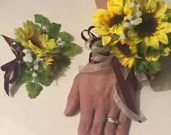 Matching Sunflower wrist corsage and boutonniere set