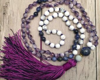 Amethyst Mala Necklace/Howlite Mala/108 Mala Necklace/Lapis Lazuli/Sodalite/Hand-Knotted/Silk Tassel/Boho Mala/Mala Beads/Migraine Support
