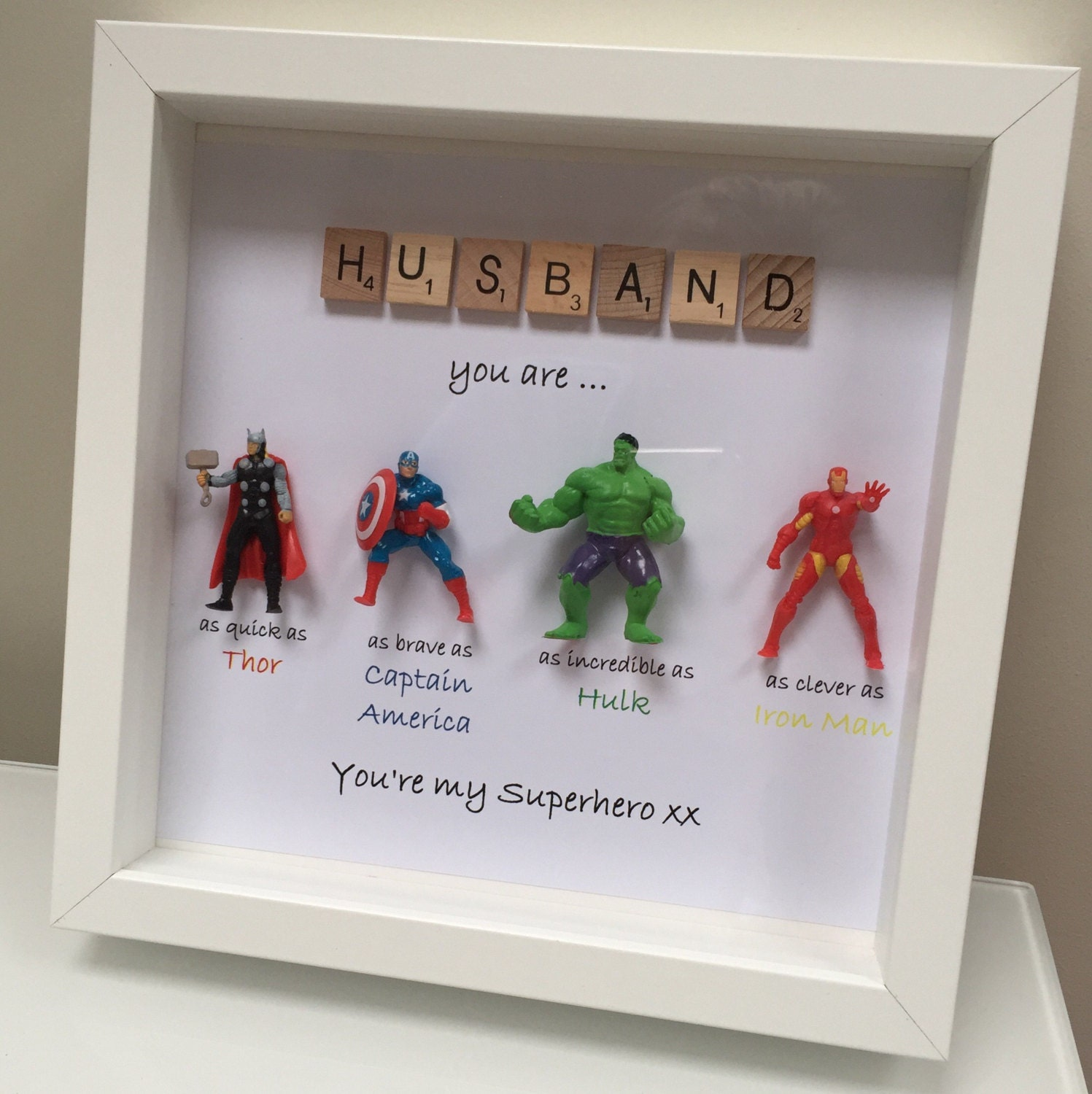 avengers superhero figures frame gift ideal for dad brother. Black Bedroom Furniture Sets. Home Design Ideas