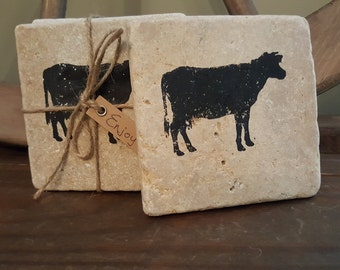 Cow Gifts, Farmhouse Decor, Fixer Upper Decor, Cow Gift Ideas, Cow Coasters, Country Home Decor, Rustic Coasters, Stone Coasters, Coasters