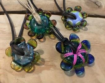 Artisan Glass Flower Necklace Pendant Necklace