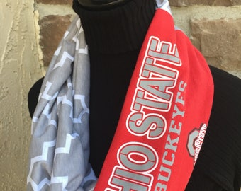 Ohio State University  - Infinity Upcycled T shirt Scarf - Double Loop - Buckeyes