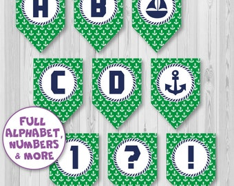Full Alphabet Banner Bunting, Nautical banner, 2 DIFFERENT STYLES in 1, Birthday banner, Party banner, Instant Download, DIY, Marine banner