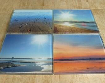 Blue Beach Coasters, Beach Gift, Beach House Decor, Coastal Decor, Ocean Coasters, Nautical Variety Glass Coaster Set, Housewarming Gift