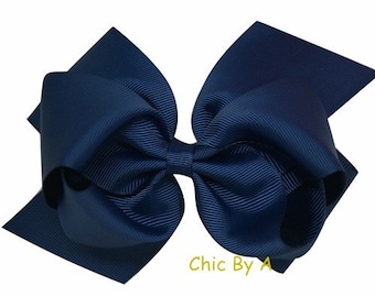 """Large Navy Hair Bow Blue,Double Layer Boutique Hair Bow,Fashion 6"""",With Clips,Cheerleading Bows"""