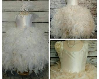 flower girl tutu dress, feather tutu dress, flower girl dress, birthday tutu, pageant dress, vintage tutu dress, flower girl dress