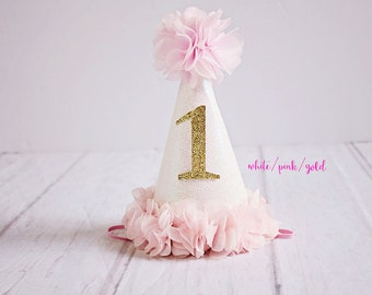 1st Birthday Hat, First Birthday Hat, Birthday Hat, Baby Girl 1st Birthday, Birthday Hat Girl, Gold Birthday Hat,  Pink Birthday