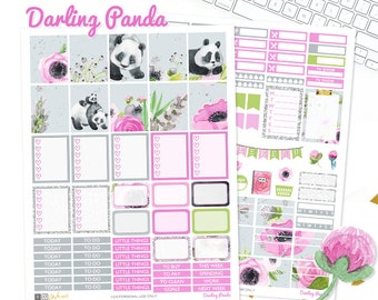 Panda Planner Stickers, Printable weekly kit, Animal stickers, Panda bear, use with Erin Condren, ECLP, floral, pink, glitter, EC, kawaii