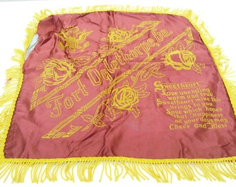 Vintage World War II Satin Pillow Sham Case Cover, Fort Oglethorpe, Poem to Sweetheart, Military Souvenir, World War II Artifact, Keepsake