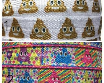 5/8 Poop Elastic, Poop Emoji Elastic, Poop foe, Poop Elastic for hair ties, DIY Hair Ties, elastic by the Yard