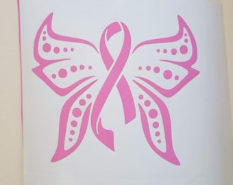 Breast Cancer Decal - Beautiful Butterfly- for use on Car window, Walls, Home WIndows, laptops, mirrors, anything that this will adhere to