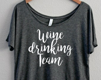 Wine Drinking Team, Slouchy Off the shoulder, Boat Neck, Coffee Shirt, Funny Shirt, I Need Coffee, I love Coffee