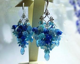 Flower earrings Blue earrings Lilac earrings Flowers jewelry Floral earrings Shades of blue Lilac jewelry Unusual jewelry Drop earrings