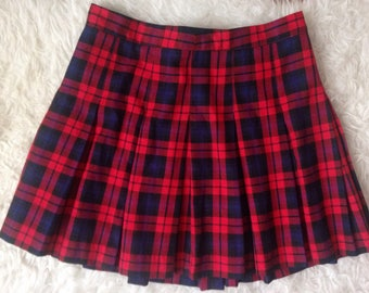1990s Soft Grunge Pleated Plaid Tartan Schoolgirl Skirt