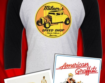 Milner's Speed Shop Hot Rod Mopar Racing American Graffiti inspired tee