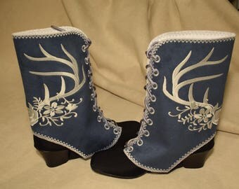 SPATS GAITERS Shoe Boot Covers Dark Blue Spats with Rose and Antlers Steampunk Sprats, Cowgirl Spats