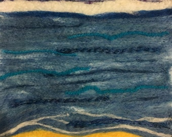 """needle felted """"day at the beach"""" painting OOAK"""