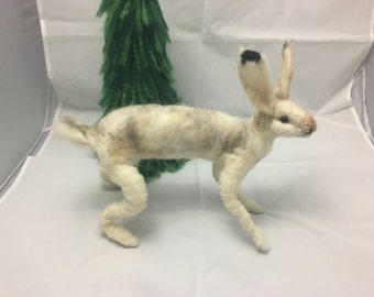 Needle felted snowshoe Hare