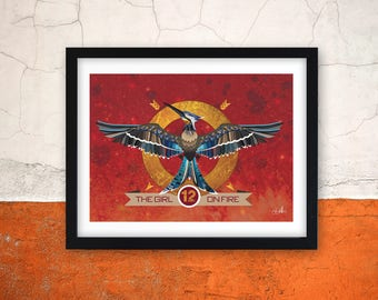 Mockingjay Girl on fire Print - Hunger games inspired art print - hunger games themed poster - mockingjay illustration - wall art - poster