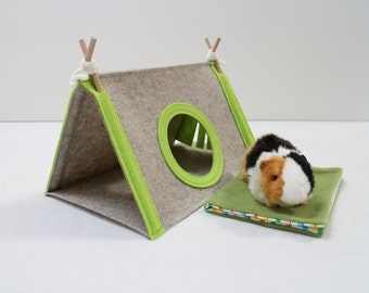 Guinea pig house with washable pad Small pet house Guinea pig hideout Small pet tent
