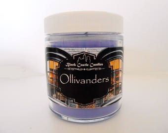 Ollivanders Wand Shop Candle -  Harry Potter Inspired - Black Castle Candles - Soy-blend Wax - 4 oz Container