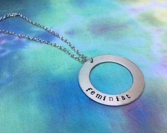 Feminist Circle Necklace - Feminist Washer Necklace - Feminist Necklace - Feminist Jewelry - Feminist Gift
