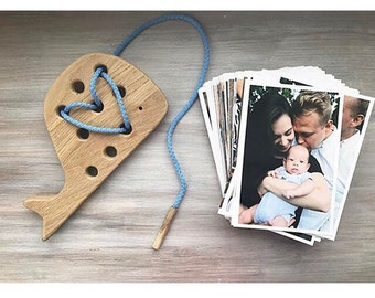 Organic Wooden Toy Whale Natural Baby Toy Eco Friendly Infant Toy Montessori Materials Kids Learning Christmas Gift