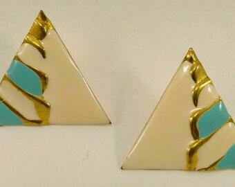 Vintage enamel triangle clip earrings