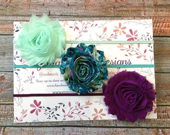 Baby Headbands, Baby Headband Set, 3 Baby Headbands, Newborn Headband, Infant Headband, Baby Girl Headband, Shabby Chic Headbands, Hair Bows