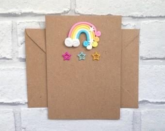 Rainbow card, Birthday card, Happy Birthday card, Rainbows and stars, Magical card, Card for little girl, Teen card, Over the rainbow card