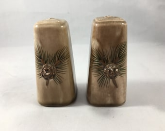 Vintage Midcentury Ceramic Brown Pine Cone Salt and Pepper Shakers