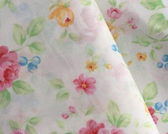 White Rose Bouquet Cotton Fabric from the Antique Floral Pastel Collection by Lecien Fabrics