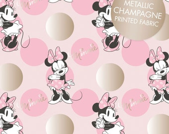 "End of Bolt, Pink Metallic Minnie Mouse Jumbo Dot from the Minnie Mouse Metallic Collection by Camelot Fabrics 49""x44"""