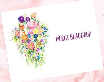 Thank You Card - Floral Bouquet - Merci Beaucoup - French