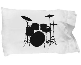 DRUM SET SILHOUETTE Pillowcase - Drums - Drum Kit - Drummer Gift - Gifts for Drummers - Bedding - Pillow Case - Home Decor