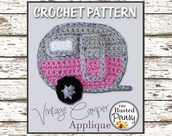 Crochet PATTERN, Applique Vintage Camper, Instant Download