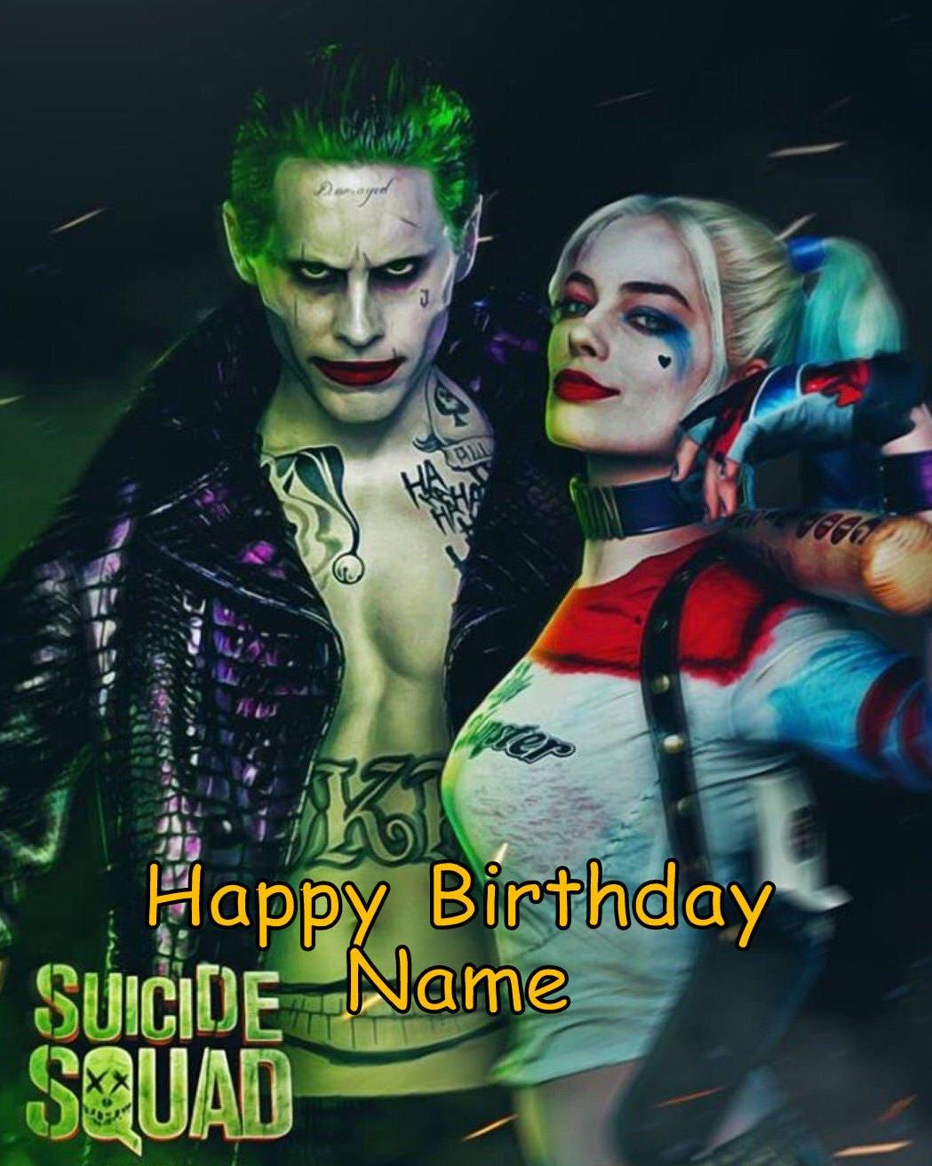 Suicide Squad Harley Quinn Joker Edible Image Cake Topper