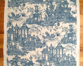 Beautiful 1930's. French Chinoisere Toile Print Fabric (9982)