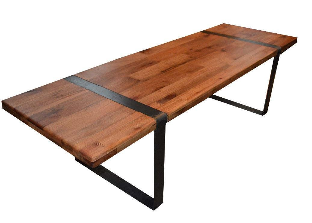 Reclaimed wood coffee table flat steel legs with top insert for Wood top metal legs coffee table
