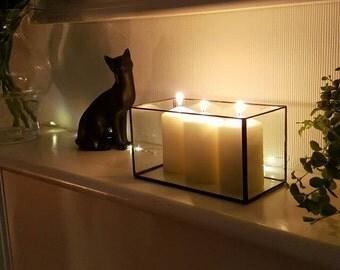 Large glass candle holder/wedding table decor/modern succulent planter/mini indoor garden/stainedglass terrarium/