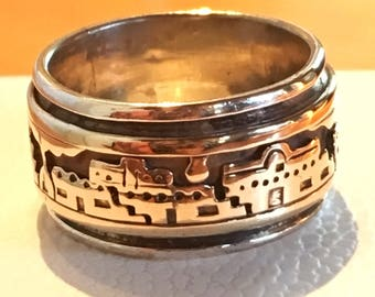 M.M. Rogers Bobby Apachito Sterling 14k Gold Panoramic Pueblo Ring Band Sz. 6.75 Navajo