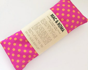 Lavender Scented Eye Pillow Cool / Heat Packs Pink Orange Spots