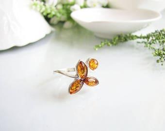 Honey Baltic Amber Ring, Natural Baltic Amber Ring, Honey Amber Ring, Amber Ring, Delicately Crafted Ring, Silver Ring