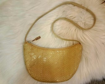 Gorgeous Vintage Margolin Cream Genuine Snakeskin Designer Shoulder Strap Purse