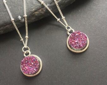 Druzy necklace Round druzy pendant Silver druzy Druzy pendant Purple druzy