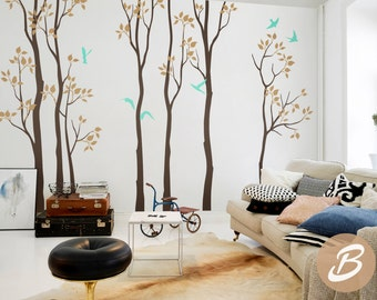 Nursery wall decal White tree wall decal Birch and birds wall decal Removable vinyl wall decal Removable tree decal Nature wall decal -AM003