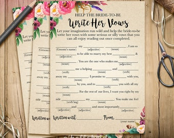 Help The Bride To Be Write Her Vows Boho Bridal Shower Game - Wedding Vows Printable Bohemian Bridal Shower Game - Bachelorette Party 003
