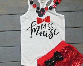 Miss Mouse Outfit, Girls' Birthday Outfit, Sequin Shorts, Baby Girl's First Birthday Outfit, Vacation Outfit, Bow Outfit, Girls' Tank Top